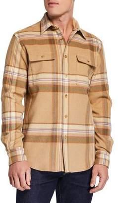 Ralph Lauren Men's Plaid Work Shirt w/ Suede Patches