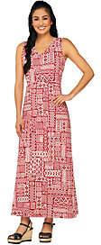 Denim & Co. Sleeveless V-neck Tribal Print KnitMaxi Dress