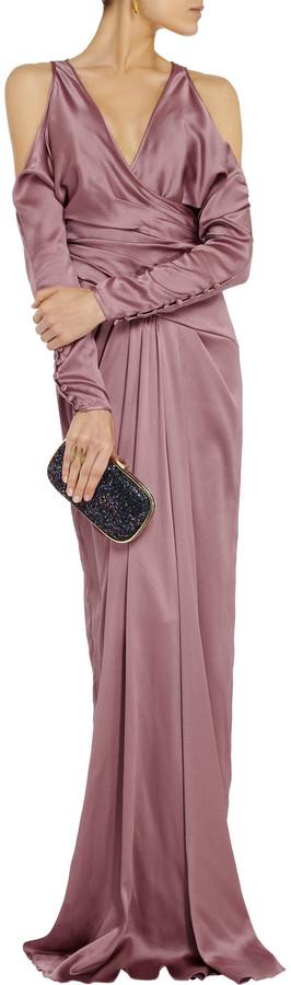 Badgley Mischka Cutout textured silk-blend gown