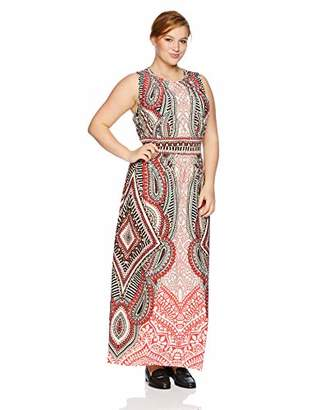 London Times Women's Plus Size Sleeveless Pleat Neck Inset Waist Maxi Dress