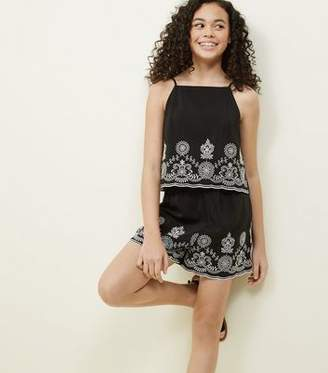 New Look Girls Black Floral Embroidered Layered Playsuit