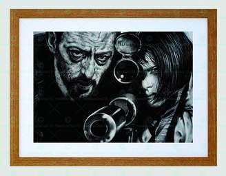 Leon Wee Blue Coo JEAN RENO NATALIE PORTMAN DRAWING FRAMED ART PRINT BY W.MAGUIRE F97X12455