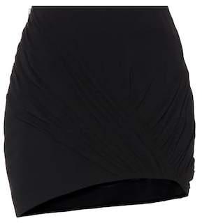 Wool and silk asymmetric miniskirt