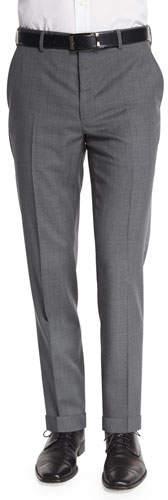 Ralph Lauren Flat-Front Wool Trousers, Light Gray