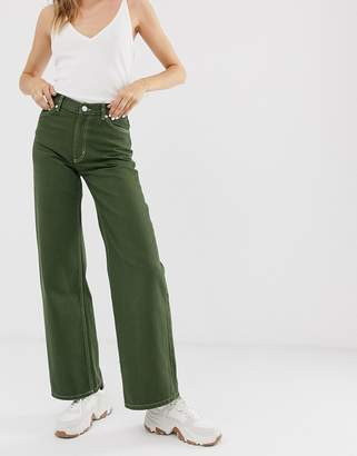 Monki Yoko wide leg jeans with organic cotton in khaki