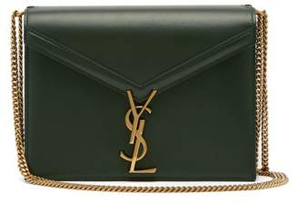 Saint Laurent Cassandra Clasp Leather Cross Body Bag - Womens - Dark Green