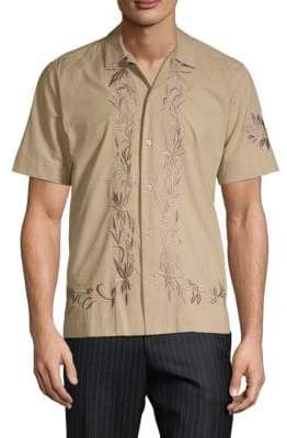 Dries Van Noten Botanical Embroidered Short-Sleeve Button-Down Shirt