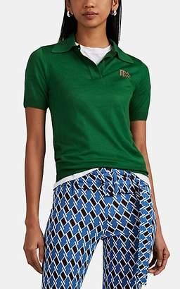 Prada Women's Logo-Detailed Wool Polo Sweater - Green