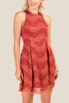 francesca's Ainsley Lace A-Line Dress - Brick