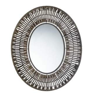 Accent Plus FAUX RATTAN OBLONG WALL MIRROR