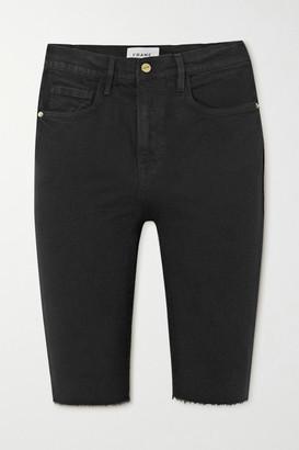 Frame Le Vintage Bermuda Frayed Denim Shorts - Black