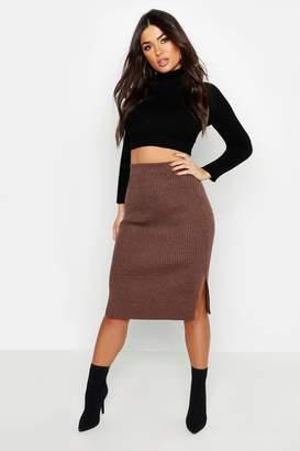boohoo Rib Knit Midi Skirt
