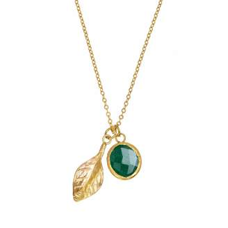 Ottoman Hands - Small Gold Leaf & Emerald Charm Necklace