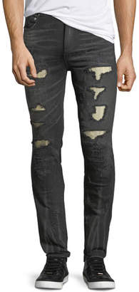 God's Masterful Children Distressed Slim-Straight Jeans with Metallo Backing