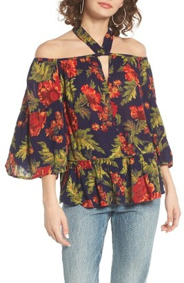 Women's Sun & Shadow Tie Neck Off The Shoulder Top $55 thestylecure.com
