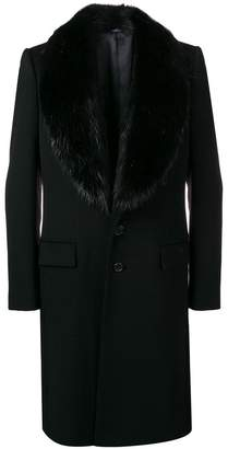 Dolce & Gabbana midi fur collar coat