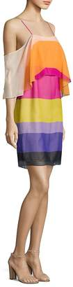 Trina Turk Women's Striped Cold-Shoulder Butterfly Silk Dress