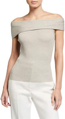 3.1 Phillip Lim Metallic Off-Shoulder Pullover Sweater