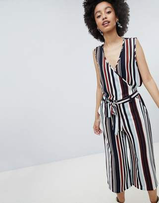 Only Stripe Wrap Wide Leg Jumpsuit