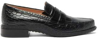Tod's Gommini Crocodile Embossed Leather Penny Loafers - Womens - Black