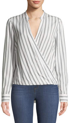 L'Agence Kyla Striped V-Neck Draped Top