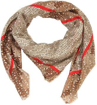 Burberry Tb Monogram Silk Blend Scarf
