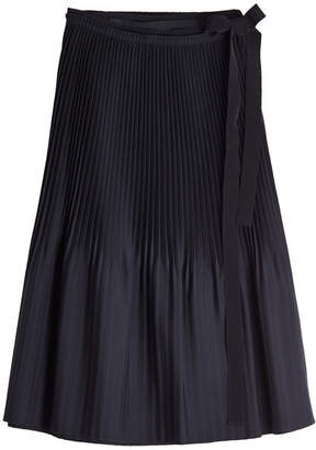 Jil Sander Navy Pleated Skirt with Wool