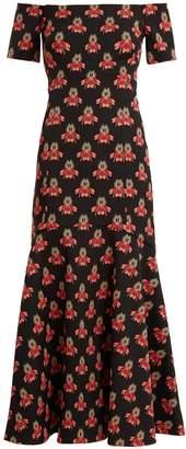 Temperley London Jupiter off-shoulder jacquard fluted dress