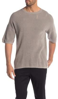 AllSaints Forram Distressed Short Sleeve Sweater