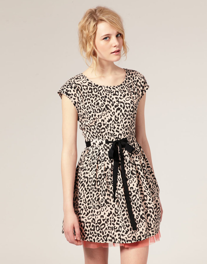 Dahlia Animal Print Dress with Contrast Frill Hem