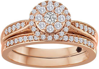 JCPenney MODERN BRIDE 1/2 CT. T.W Diamond 10K Rose Gold Bridal Ring Set