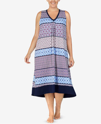 Ellen Tracy Plus Size Printed Long Nightgown