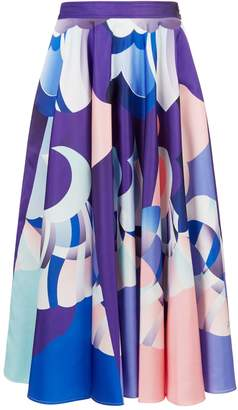 Emilio Pucci Abstract Print Midi Skirt