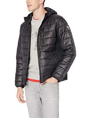GUESS Men's Hooded Puffer with Side Stretch Panels