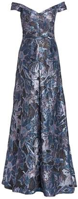 Rene Ruiz Collection Off-The-Shoulder Print Fil Coupe Gown