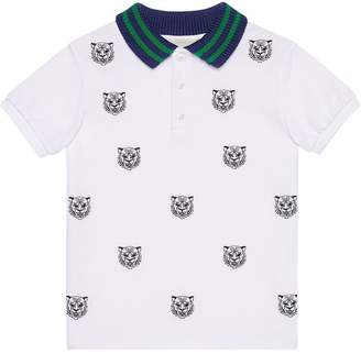 Gucci Kids Children's polo with tiger heads embroidery