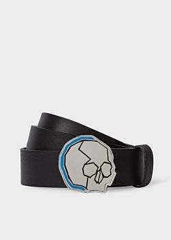 Paul Smith Men's Black Leather Belt With 'Skull' Buckle