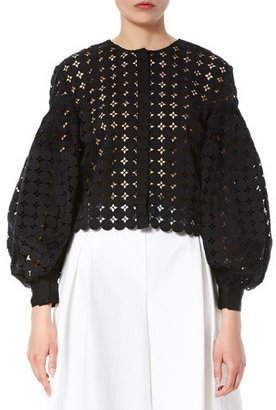 Carolina Herrera Crochet Balloon-Sleeve Jacket, Black $1,890 thestylecure.com
