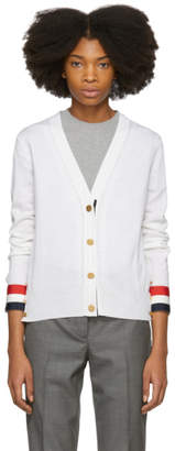 Thom Browne White Grosgrain Cuff V-Neck Cardigan