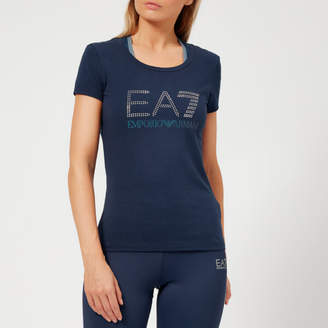e094e37f2 Emporio Armani Women's Train Logo Series Short Sleeve T-Shirt with Studs