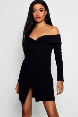 boohoo Off Shoulder Wrap Blazer Dress
