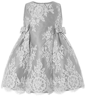 Monsoon Girls Grey Baby Valeria Lace Dress - Grey