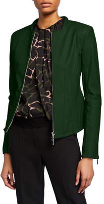 Emporio Armani Leather Square-Neck Zip-Front Jacket