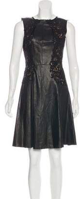 Oscar de la Renta A-Line Leather Dress