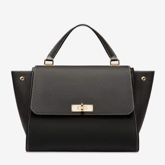 Bally Breeze Black, Women's medium grained calf leather top handle bag in black