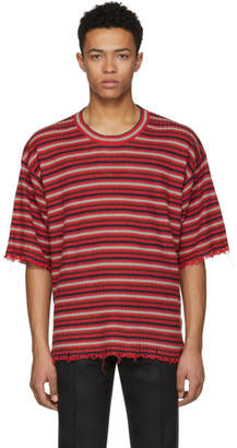 Maison Margiela Red Striped Distressed T-Shirt