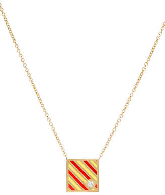 K Kane Code Flag Square Diamond Pendant Necklace - Y