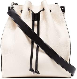 J.W.Anderson white and black drawstring grain leather tote bag