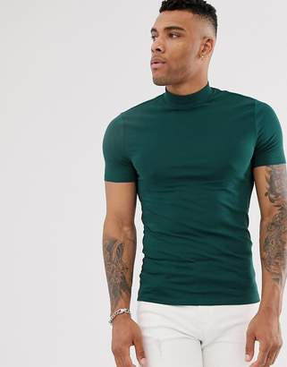 Asos Design DESIGN organic muscle fit t-shirt with turtle neck in green