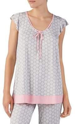 Ellen Tracy Printed Jersey Pajama Top